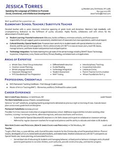 substitute teacher resume example - Sample Of Teacher Resume
