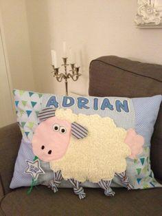 GeburtsKissen JungenVariante ❤️ Baby, Throw Pillows, Sewing, Home, Gifts, Toss Pillows, Dressmaking, Cushions, Couture
