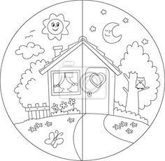Carta da parati Casa di campagna giorno e notte da colorare per bambini.