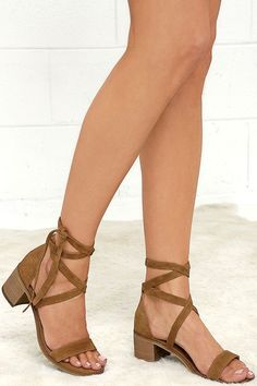 Fashionable, yet sensible, the Steve Madden Rizzaa Cognac Suede Leather Heeled Sandals are all-around winners! Genuine suede leather crisscrosses and ties around the ankle on this open-toe design. #heeledsandals