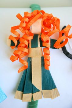 Disney Inspired Princess Ribbon Sculpture Day 2: Merida {BRAVE} tutorial