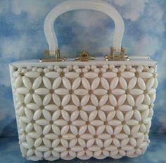 Mid Century White lucite Box Purse/bag