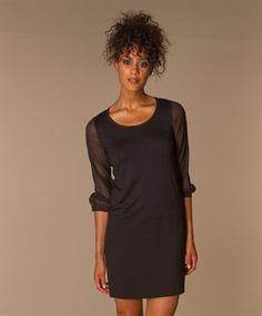 DKNY   Donna Karan New York - DKNY Zijden Mouw Jurk - Zwart