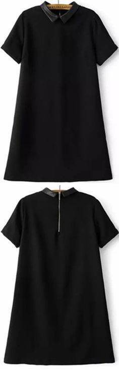 My new shirt dress for work day of new year .  Click to shop with 55% off ! Black doll collar and a line dress will never wrong . So adroable, isn't it ?
