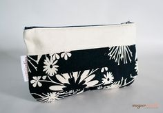 Black and White Paisley Pleated Clutch