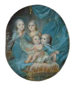 Rare representation of the four children of Louis XVI and Marie - Antoinette together:  The oldest, Maria Theresa called Madame Royale (1778 + 1851), future Duchess of Angoulême and was the only one to survive the revolution.  The first Dauphin Louis (1781 + 1789), died at the beginning of the event.  The future Louis XVII (1785 + 1795), died in the Temple.  Miss Sophie (1786 + 1787), whose death at 11 months allows us to date the miniature of 1787.