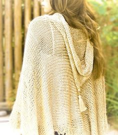 hand knitted poncho with hood in gold by ovejanegra