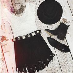 Such a cute combo emoji Our 'Isabelle' top + 'Hey Ya Stud' skirt + 'Urban Warrior' belt + 'Kickin Up Dust' hat emoji Shop them all now @ www.showpo.com #iloveshowpo