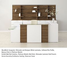 National Office Furniture WaveWorks Casegoods in Palisander and Designer White Laminates