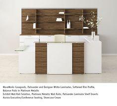 National Office Furniture Waveworks Casegoods In Palisander And Designer White Laminates
