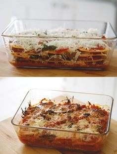 Paleo Butternut Squash Lasagna1 lb hot Italian sausage, casing removed 1 red onion 3 cloves garlic 1 15 oz can pizza sauce 1/2 c roasted red peppers 1/4 c extra virgin olive oil couple leaves of fresh basil (leave it out if you don't have it, just freshens up the sauce a bit) 1 small butternut squash cheese, optional