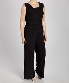 Take a look at this Black Ruched Jumpsuit - Plus on zulily today!