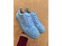 Super Perfect C-Louboutin Louis Junior Spikes Men Flat Lake Blue Suede Sneaker