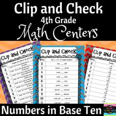 Math Centers: 4th Grade Numbers in Base Ten Clip and Check