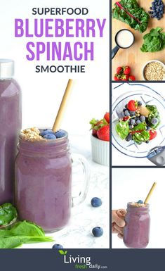 The perfect healthy vegan breakfast smoothie…. The perfect healthy vegan breakfast smoothie. Blueberry muffin flavor packed with nutritious berries and super greens! Blueberry Spinach Smoothie, Vegan Breakfast Smoothie, Spinach Smoothie Recipes, Healthy Breakfast Smoothies, Fruit Smoothies, Blueberry Breakfast, Nutritious Smoothies, Healthy Drinks, Nutritious Breakfast