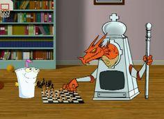 Jesus Ezekial Jesus and Chess Dragon Aqua Teen Hunger Force, Chess, Cartoons, Swim, Dragon, Kids Rugs, Decor, Gingham, Cartoon