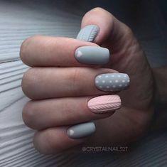 Accurate nails Christmas nails Grey and pink nails Ideas of winter nails Long nails Mittens Nail Art Painted nail designs Two color nails Grey Nail Designs, Best Nail Art Designs, Winter Nail Designs, Christmas Nail Designs, Grey Nail Art, Gray Nails, Cool Nail Art, Grey Art, Two Color Nails
