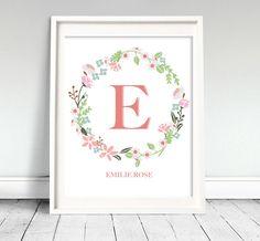 Flower Wreath Nursery Art - Printable. $7.00, via Etsy.