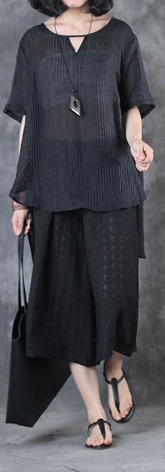 vingage silk linen two pieces casual loose tops and crop wide leg pants