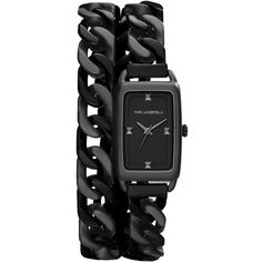 KARL LAGERFELD 'Kourbe' Double Wrap Bracelet Watch, 20mm x 30mm, BLACK ($177) ❤ liked on Polyvore featuring jewelry, watches, bracelets, accessories, black, karl lagerfeld watches, stainless steel watch bracelet, sport watches, wrap watch bracelet and chain wrap watches