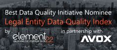Element22 – Avox Data Quality Index is nominated for Best Data Quality Benchmarking Initiative
