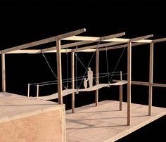 study model, Ropes Bridge at Laureus Learning Pavilion, Magic Bus, 1:20 plywood, teak wood, balsa wood, steel wire