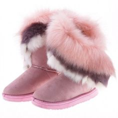 Women's Autumn Winter Ankle Warm Synthetic Fur Snow Boots