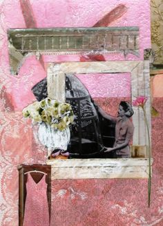 "Rosie the Riveter Vintage Inspired Art: ""St. Rosie at the Pink Lace Windowsill"" Women's History Mixed Media and Vintage Photo Collage Print"