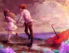 "Blauerozen Girl & Boy Painting ◈ Art For Teens ◈ ""Run away with me"" by on DeviantArt"