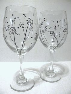 Hand Painted Wine Glasses - Dandelion by TheScarletLine on Etsy https://www.etsy.com/listing/152249281/hand-painted-wine-glasses-dandelion