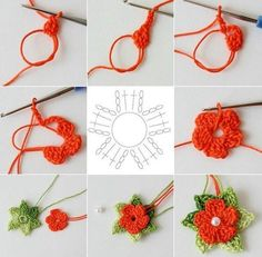 """5 petals cluster flower free pattern with picture tutorial and chart – Artofit Big crochet poppy free pattern step by step – Artofit The difference is in the details easy crochet flowers bows – Artofit maria-cro: """" pattern for the cute flowers :) Crochet Simple, Crochet Diy, Crochet Motif, Crochet Crafts, Crochet Projects, Diy Crafts, Thread Crochet, Irish Crochet, Crochet Ideas"""