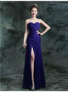 オフショルダー ハートネック スリットデザインの上品イブニングドレス ロングドレス パーティードレス