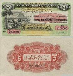 5 Pounds Egypt's BanknotePick: Date: 1899 Egyptian Pound, Money Notes, Book Value, Alexandria Egypt, Ephemera, Art Projects, Vintage World Maps, This Or That Questions, Egyptian Mythology
