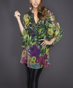 Look what I found on #zulily! Green & Purple Floral Embellished Cape-Sleeve Tunic by Adore #zulilyfinds