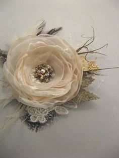 Wedding hairpiece bridal vintage burlap rustic woodsy Hair clip Flower Rose Beige creamy Ivory Chocolate Lace brown gold  Fascinator. $38.00, via Etsy.