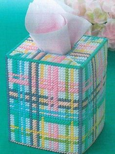 SPRINGTIME PLAID TISSUE BOX COVER PLASTIC CANVAS PATTERN INSTRUCTIONS