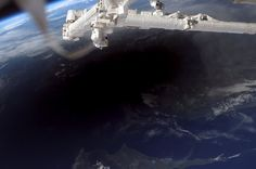 "Earth Observatory - Total Solar Eclipse of March 29, 2006: ""The International Space Station (ISS) was in position to view the umbral (ground) shadow cast by the Moon as it moved between the Sun and the Earth during the solar eclipse on March 29, 2006. This astronaut image captures the umbral shadow across southern Turkey, northern Cyprus, and the Mediterranean Sea..."""