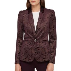 Tommy Hilfiger Women's Printed Button-Front Blazer ($104) ❤ liked on Polyvore featuring outerwear, jackets, blazers, maroon, fleece-lined jackets, tommy hilfiger, long sleeve jacket, paisley jacket and paisley blazer