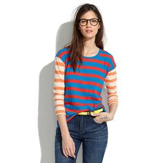 Long-Sleeve Tee in Colorblock Stripe - tees & more - Women's NEW ARRIVALS - Madewell