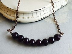 Minimalist garnet necklace by tchickie on Etsy