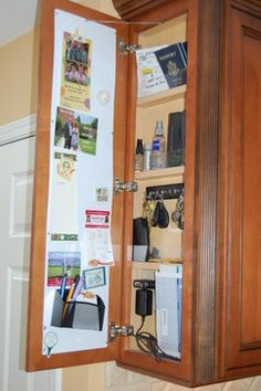 Drop zone / message board - use cork, metal, or peg on interior of doors for more use