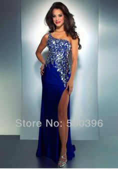 Long One Shoulder Open Back Sequin Dress by Scala 47541 ...