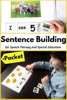 Sentence Building for Speech Therapy – Angela Sidletchi – art therapy activities Art Therapy Activities, Autism Activities, Writing Activities, Therapy Ideas, Classroom Activities, Teaching Special Education, Elementary Teaching, Sentence Building, Speech And Language