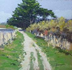 """Jean-Yves Marrec Pastelliste   """"A droite l'océan...""""pastel sec 22x22"""