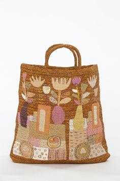 Sophie Digard   Vase Appliqué   Large Square Crochet Raffia Bag   Cinnamon Raffia Bag, Vase, Crochet, Cinnamon, Applique, Reusable Tote Bags, Textiles, Colours, This Or That Questions