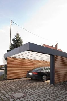 Carport modern garages & sheds by architect armin hägele modern - Carport: modern garage & shed by architect Armin Hägele There are carports made of wood, steel, co - Carport Modern, Carport Garage, Car Garage, Garage Plans, Pergola Carport, Detached Garage, Garage Doors, Garage Cabinets, Garage Workbench