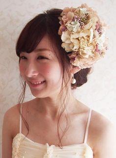 ふんわりアンティークカラーのヘッドドレス - 大人可愛い花冠 ブライダル・ウェディング 【アルモニ】