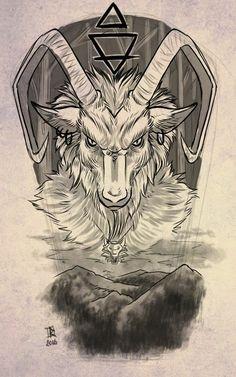 capricorn tattoo by ruchiel designs interfaces tattoo design 2016 2017 Capricorn Art, Capricorn Tattoo, Zodiac Sign Tattoos, Satanic Tattoos, Satanic Art, Body Art Tattoos, Tattoo Drawings, Sleeve Tattoos, Mandala Dragon