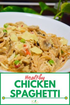 Where comfort meets food, and flavor meets warmth, you'll find this healthy Chicken Spaghetti with whole wheat noodles and lean chicken breast. Clean Dinners, Clean Eating Recipes For Dinner, Healthy Chicken Spaghetti, Whole Wheat Noodles, Slow Cooker Balsamic Chicken, Real Food Recipes, Healthy Recipes, Sprouts With Bacon, Food Menu