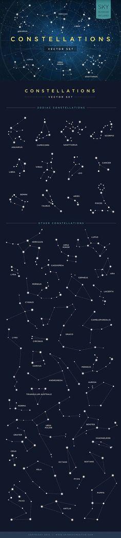 Constellations Vector Set by skyboxcreative #Illustration #Constellation tatuajes | Spanish tatuajes |tatuajes para mujeres | tatuajes para hombres | diseños de tatuajes http://amzn.to/28PQlav: